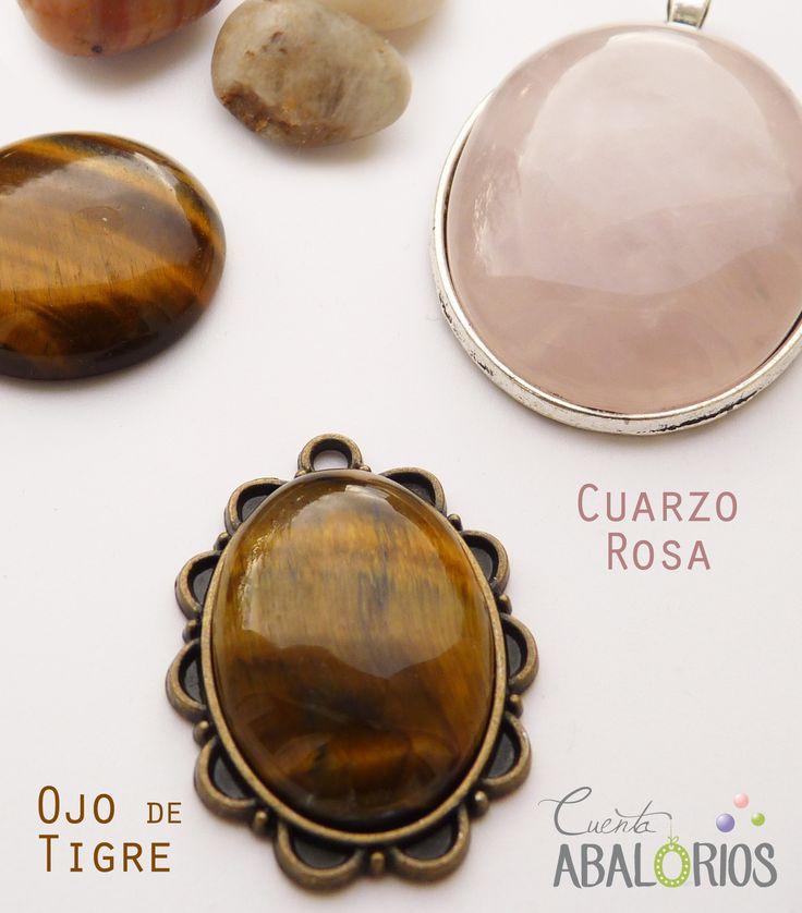 Camafeos con piedras naturales #cuarzo #ojodetigre en www.cuentaabalorios.com