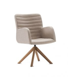 Cadeira Dalisa, sua concha com formato anatômico apresenta uma excelente ergonomia e leveza, pode compor as cabeceiras das mesas de jantar.  Opção com o encosto mais alto. Concha multilaminada, toda estofada e várias opções de bases. Opções de acabamento: lisa, gomada. Opções de bases: 4 pés palito, 4 pés fixa inox, base pirâmide, giratórias em inox, cromo e alumínio. Dimensões:Altura: 80cmLargura: 54cmProfundidade: 58cmAltura do assento: 45cm