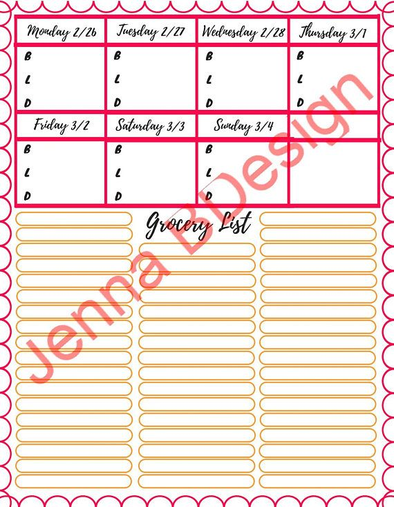 Plan and organize your weekly meals and grocery shopping list in minutes with this easy to use template. Download it right away and print as many copies as you need! This item is for your personal use and cannot be edited, reproduced or distributed.
