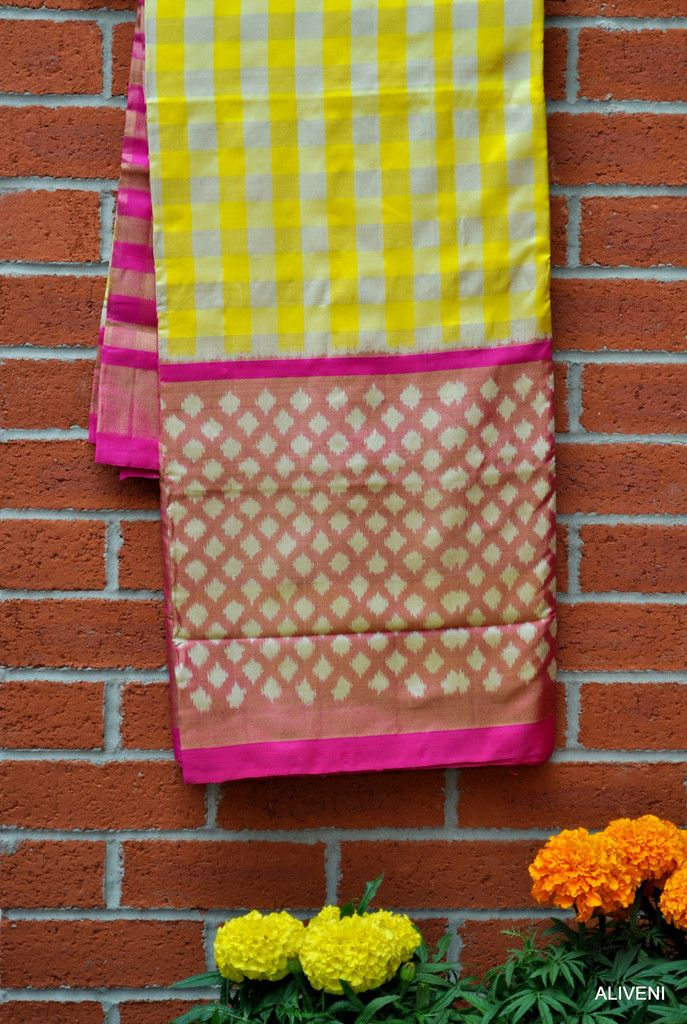 Yellow & White Checks Pochampally Ikat Saree with Broad Pink Ikat Tissue Border