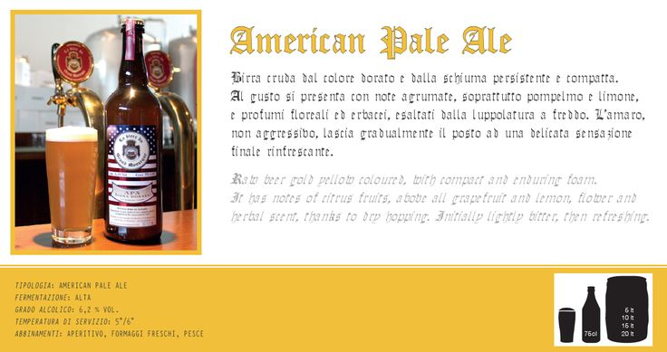 Birra American Pale Ale artigianale cruda. Scopri e prova tutte le altre birre su: www.demarca.it