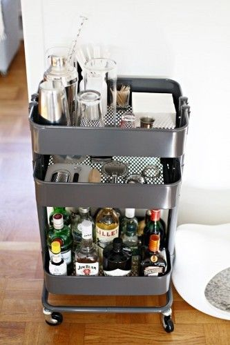 Easy IKEA Hack: Raskog Utility Cart Used As A Portable Bar Cart In A Small