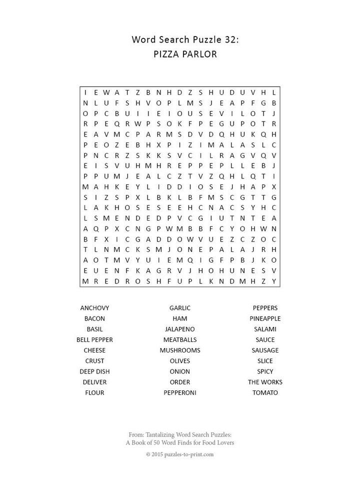 Search For Missing 16 Year Old Girl: Free Printable Pizza Word Search