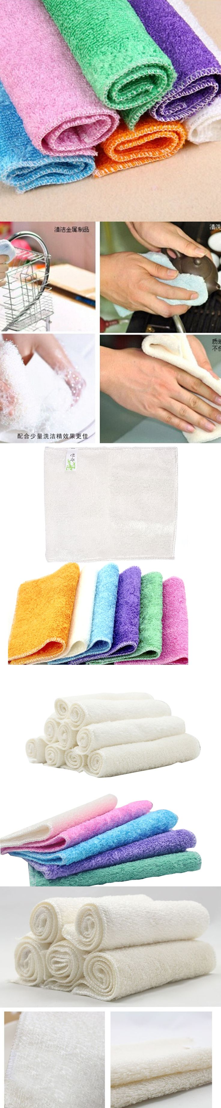 Microfiber Efficient Anti-grease Color Dish Cloth Bamboo Fiber Washing Towel Magic Kitchen Cleaning Wiping Rags Random Color