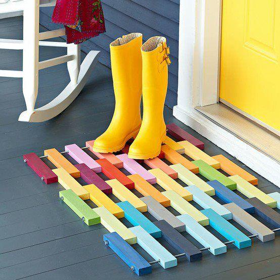 love the colorful mat!: Spring Wedding, Color, Spring Parties, Front Doors, Wedding Blog, Floors Mats, Wooden Doors, Blog Photo, Boots