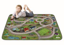 Ultrazacht speelkleed trein/verkeer (130 x 180 cm) | Speelmatten | Boxenland