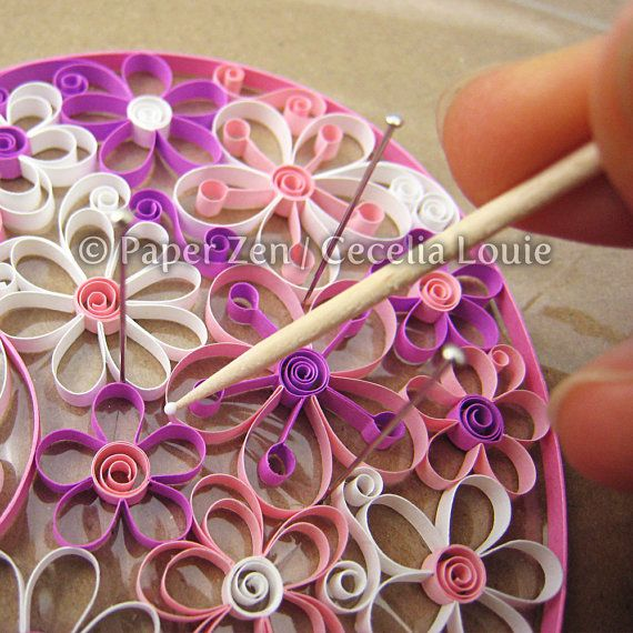 If you know how to quill loose coils and scrolls, youre ready to learn how to make contemporary open-petal flowers. Double petals, stamens, larger and smaller flowers, 8 petal flowers, and a super easy-peasy guide for measuring each strip. For those who dislike reading manuals, there are step-by-step photos to show each stage.  Visit my blog post to see how I assembled the Heart Full O Flowers: http://paperzen.blogspot.ca/2012/03/quilling-flower-pattern-update.html   PDF FILES SUPPLIED • 8…