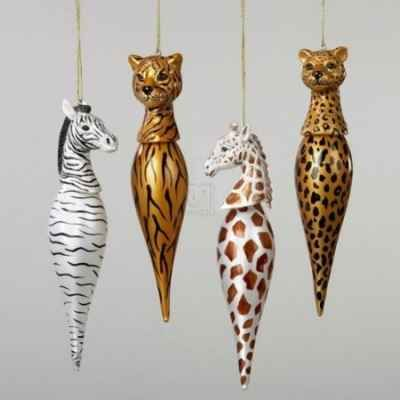 Glass African Animals Ornaments....on my Christmas wish list.