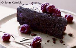 Gooey Chocolate Cake with Raspberries