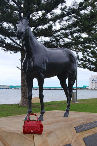"""The Foreshore, Port Lincoln, South Australia  -  (Gotta love that red handbag.....Eh?.....not mine) - maybe it belongs to """"Makabye Diva"""" - this beautiful mare is honoured for winning 3 Melbourne Cups, Australia's premier race. A mighty achievement."""