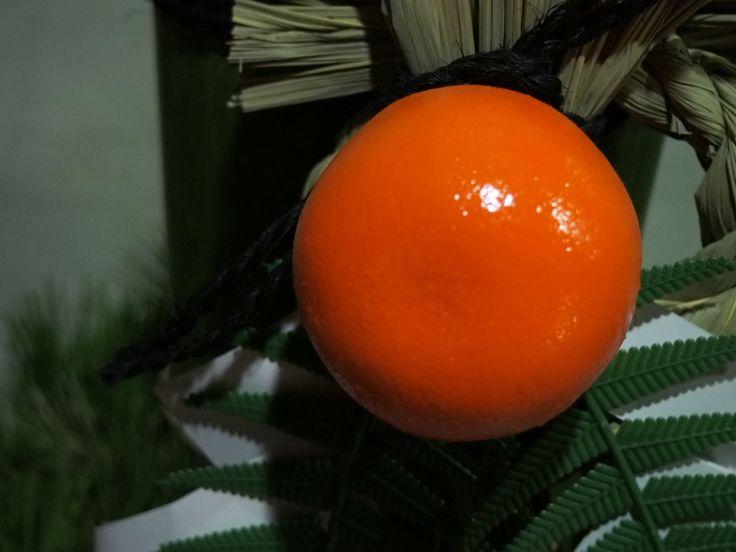 お正月の飾りをミカンのドアップで撮影してみた