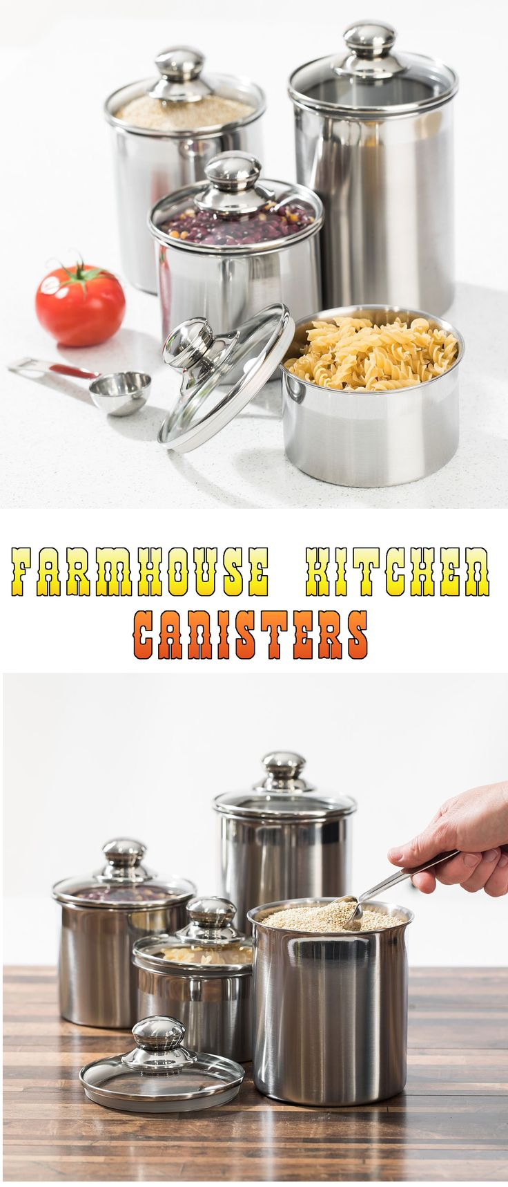 farmhouse kitchen canisters - silveronyx stainless steel