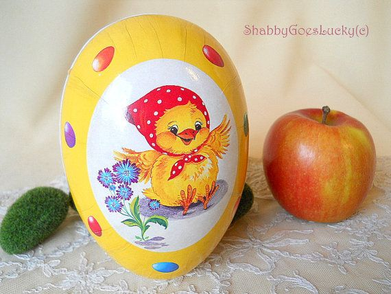 30 vintage easter with shabbygoesluckyc erzgebirge easter egg candy container vintage 1970s paper mache midi sized egg shaped easter gift box vintage easter decoration negle Image collections