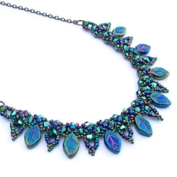 Looking for your next project? You're going to love Beaded Leaf Collar Necklace by designer Hollybird Beads.