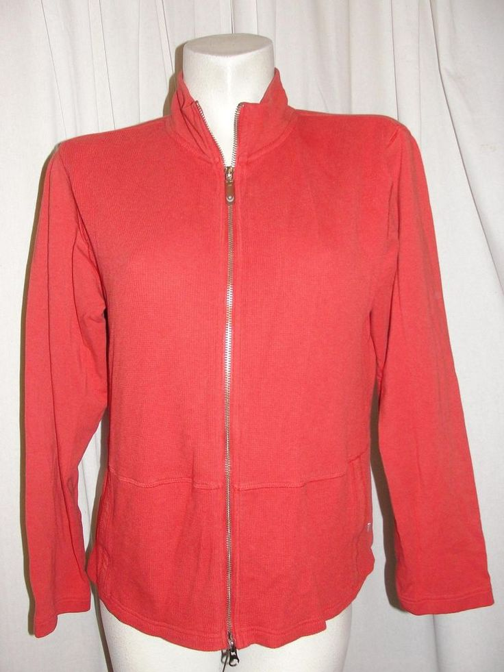 Chico's Zenergy Orange Zip Up Jacket Cotton Modal Spandex Knit Long Sleeve Sz 2 #Chicos #BasicJacket #Casual