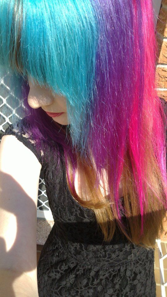 Aqua, Purple and Pink