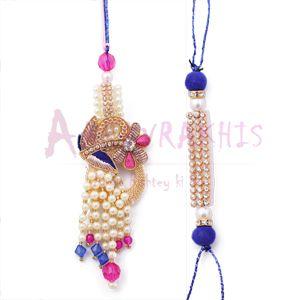Artistic Zari, Moti Diamond work Colorful Bhaiya-Bhabhi Rakhi Set