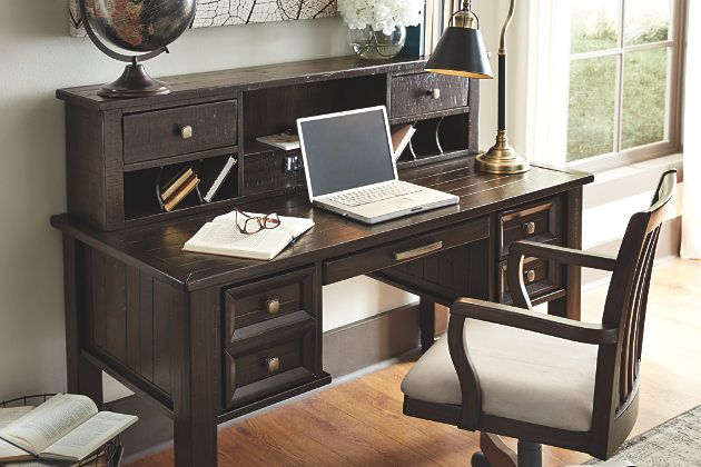 Townser dark brown wood desk with hutch and upholstered swivel seat