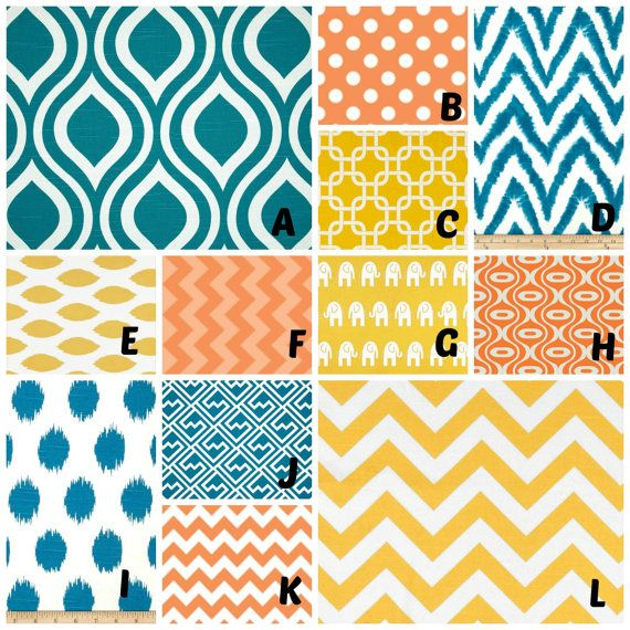 Teal And Red Yellow Orange Kitchen: Custom Crib Bedding You Design Bumper And Bedskirt In Teal