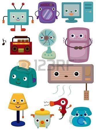 cartoon Home Appliances icon Stock Vector #HomeAppliancesCartoon #HomeAppliancesIllustration