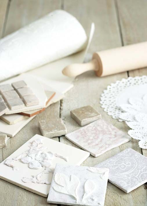 {TUTORIAL} Make your Own Tiles ~ using self-hardening clay to create tiles with these patterns: Embossed leaves | Delicate patterns | Embossed Flowers | Fossilized fern | Doily. ** Use your tiles as:  • decorative borders  • a number for your house  • wall decorations  • soap dishes  • pot stands  • coasters