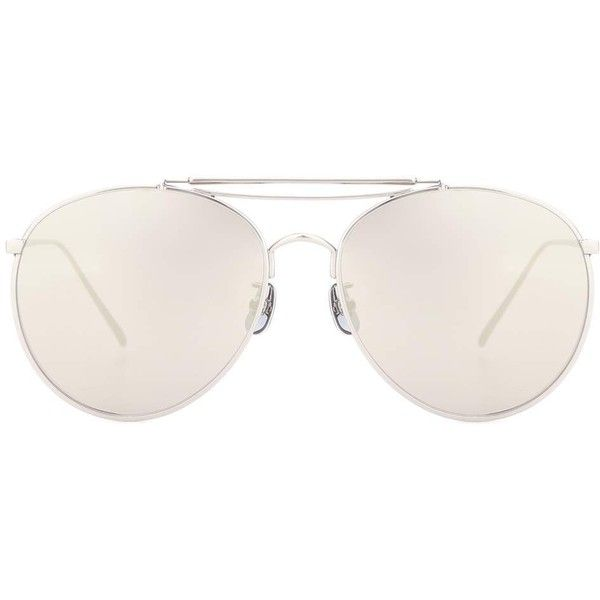 Gentle Monster Big Bully Aviator Sunglasses ($320) ❤ liked on Polyvore featuring accessories, eyewear, sunglasses, silver, silver sunglasses, aviator sunglasses, silver aviator sunglasses, gentle monster sunglasses and aviator style sunglasses