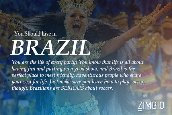 What Country Should You REALLY Be Living In? I guess I should live in Brazil! I'll have to start playing soccer.