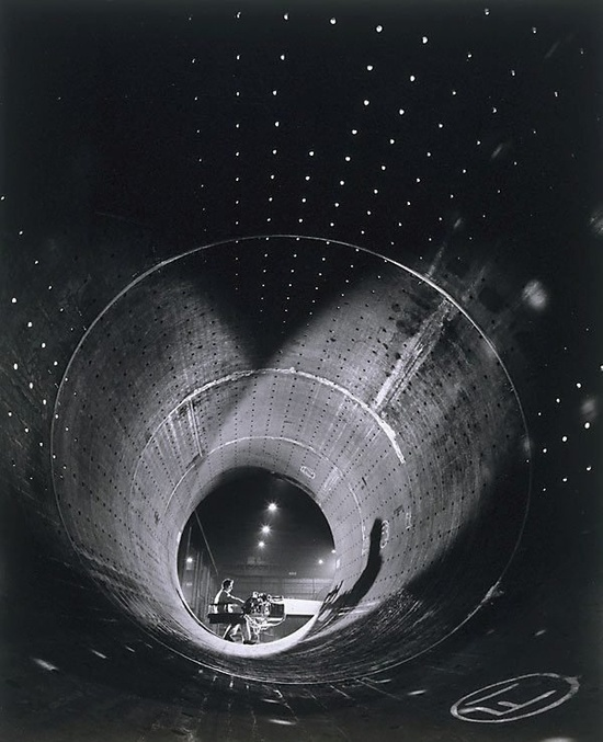 Wolfgang Sievers. Grand piano. Concrete tube. Black and White photography