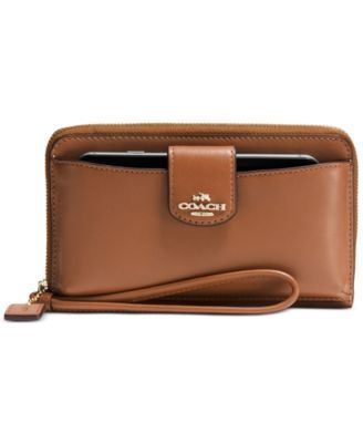 *in navy blue please* COACH BOXED UNIVERSAL POCKET PHONE WALLET IN SMOOTH LEATHER