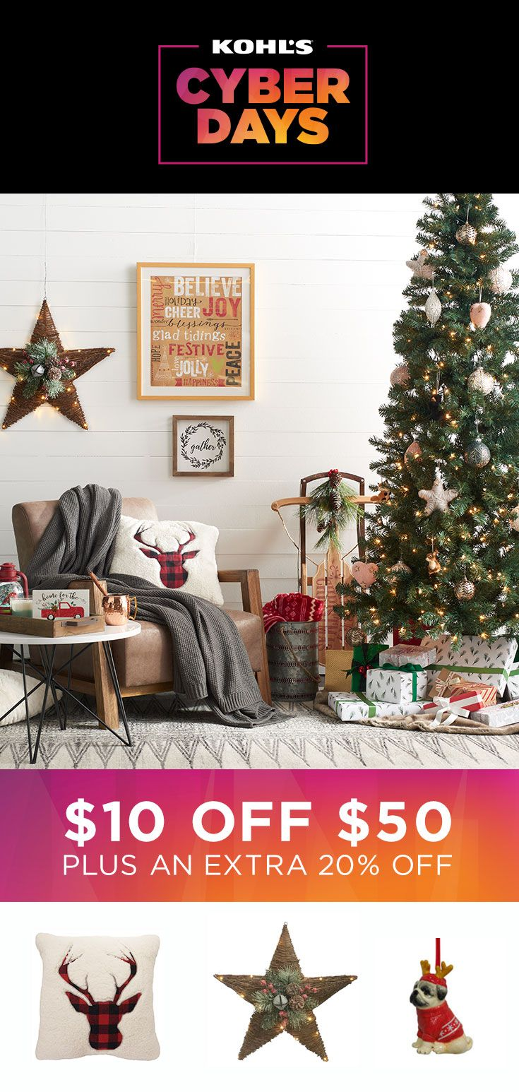 Make your home shine bright. Today only, take $10 off your $50 home purchase with promo code SUNDAY, plus take an extra 20% off with promo code BUYNOW20. Shop Cyber Days deals on home accessories and decor at Kohl's. #gifts #shopping #homedecor