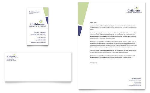 Child Care  Preschool Business Card  Letterhead Template