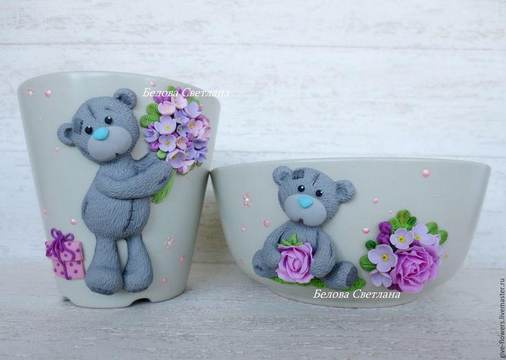 Купить Набор посуды Мишка-тедди с цветами - бежевый, мишка тедди, мишка тедди на кружке