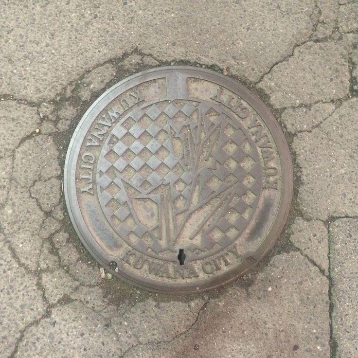 Origami crane manhole cover with no color. Place: Kuwana city, Mie, Japan.