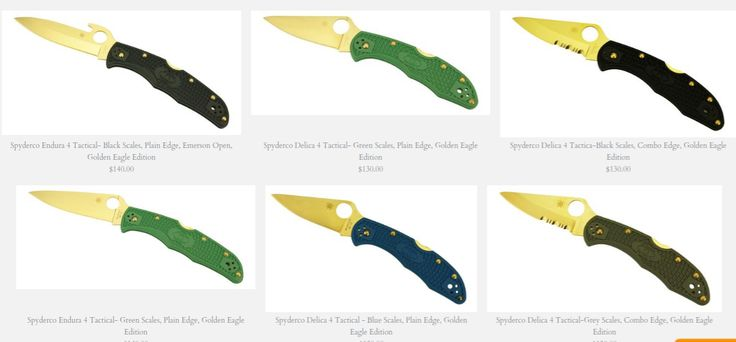 Spyderco knives     with 24k gold plated blades by: Texas Tool Crafters Golden Eagle Edition