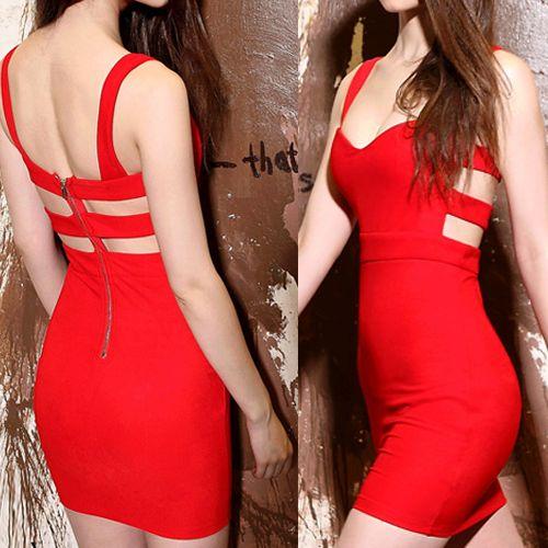 2014 New Red Cotton Sheath Mini Sexy Style Day To Night Dress