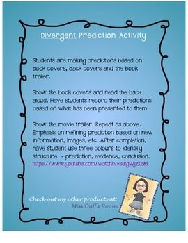 Prediction activity, using Divergent. Book covers and blurb on back of book as source material. Includes task sheet, lesson and assessment.