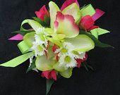 Wedding Prom Fuchsia Lime Green Orchid Wrist Corsage