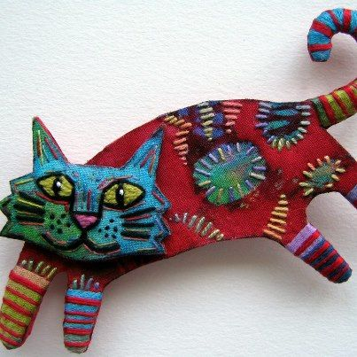Textile cat brooch with embroidered detail by Martha Rose