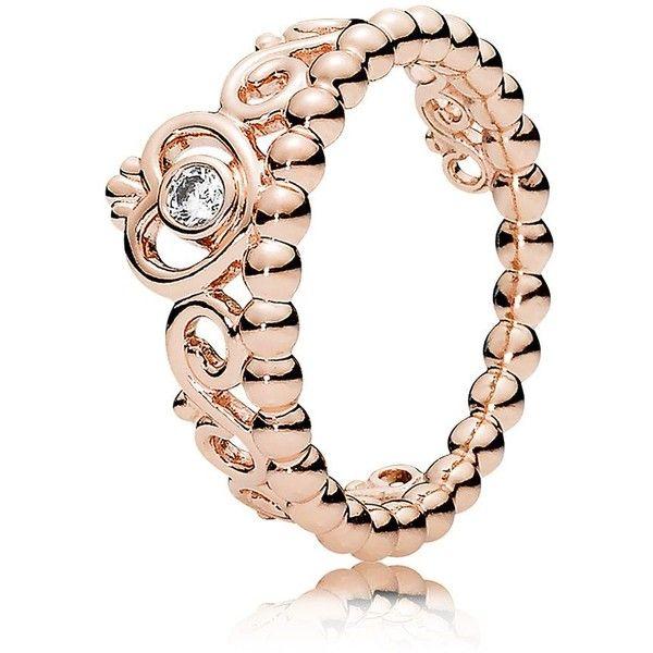 Pandora Ring - 14K Gold, Rose Plated & Cubic Zirconia Princess Tiara... (3,765 DOP) ❤ liked on Polyvore featuring jewelry, rings, rose, pandora jewelry, 14k gold ring, 14k ring, 14 karat gold ring and 14k cz rings