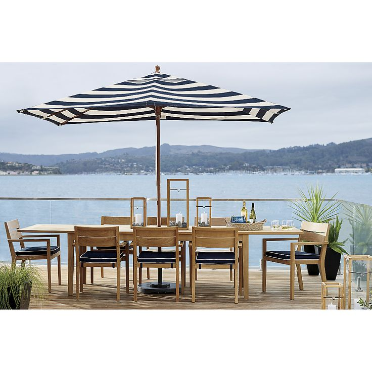 Nice Rectangular Sunbrella ® Cabana Stripe Navy Patio Umbrella With Black Frame