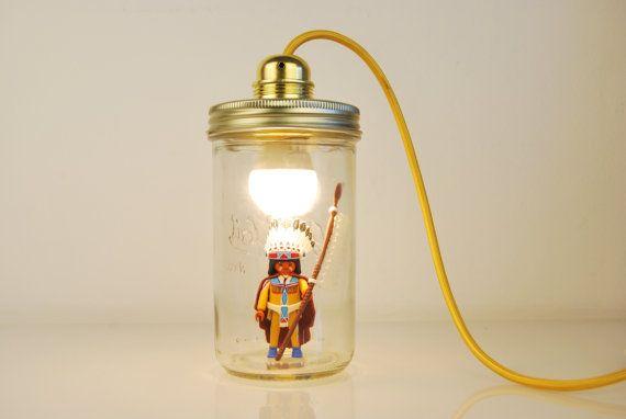 Lampe de chevet avec Figurine playmobil Indien par LeBazardeNina