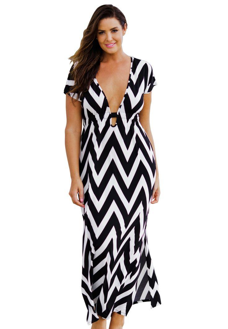Chevron Maxi Dress Cover-Up | Plus Size Swimwear | Jessica ...