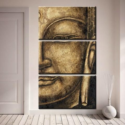 Limited Edition Buddha Gold 3-Piece Canvas Painting