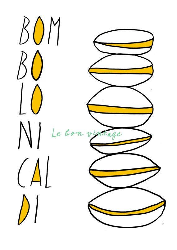 Italian donut kitchen art poster free shipping door lebonvintage, $16.50