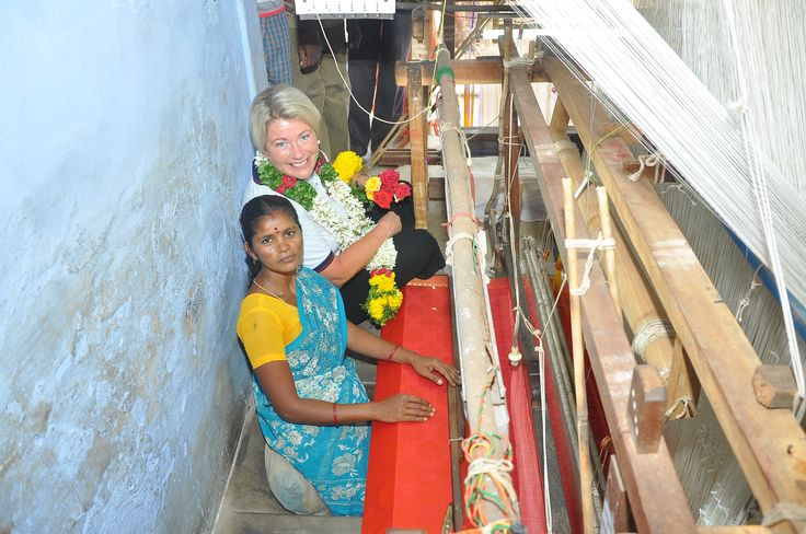 Manufacture of a sari using equipment purchased on a micro finance loan.