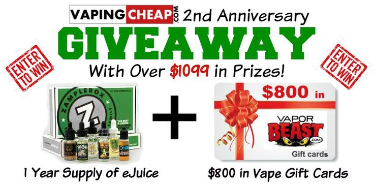 Enter to Win over $1099 in Vape Prizes at http://VapingCheap.com https://wn.nr/Tzgyh