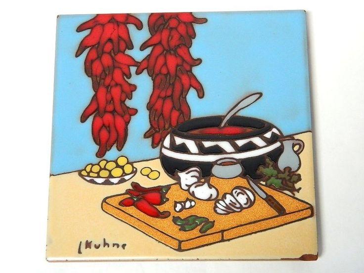 Earthtones Art Tile Trivet Southwestern Kitchen Red Hot Chili Peppers KUHNE 80s #SouthwesternFolk