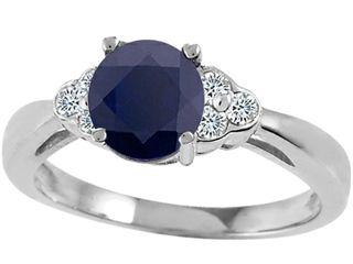 Tommaso Design™ Genuine Black Sapphire Engagement Ring