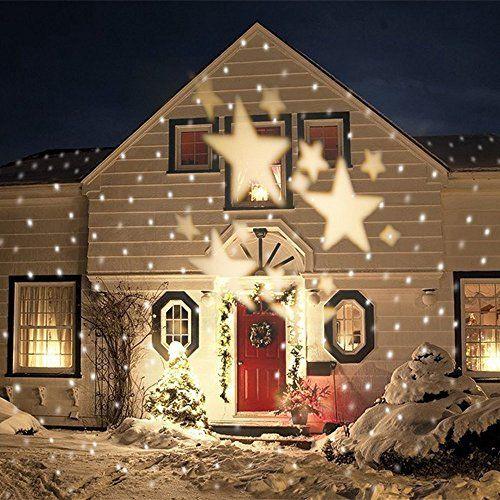GAXmi LED Paysage Spotlights Fée Motif étoiles Jardin mur Noël Mariage De plein air Imperméable Éclairage projeté Blanc Chaud