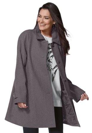 Chelsea Studio Plus Size Wool-blend A-line 3/4-length peacoat